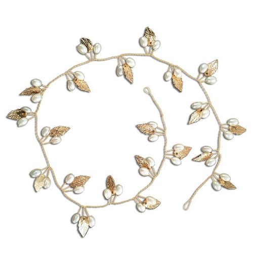 BP Bride Hair Vine with pearls gold